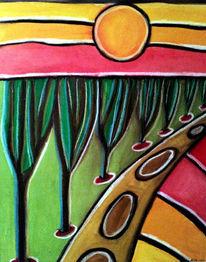Baum, Weg, Bunt, Malerei