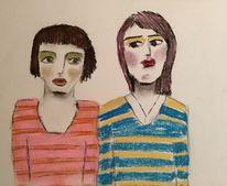 Blau, Kohlezeichnung, Orange, Zeichnungen