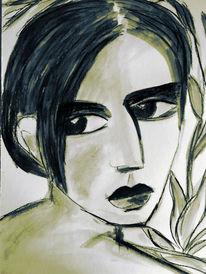 Rückblick, Kohlezeichnung, Frau, Zeichnungen
