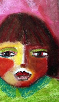 Rot, Grün, Mädchen, Malerei