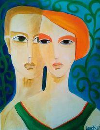 Acrylmalerei, Liebe, Grün, Paar