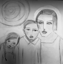 Junge, Mädchen, Mutter, Zeichnungen