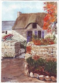 Haus, Bretagne, Sommer, Aquarellmalerei