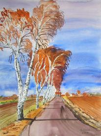 Herbst, Aquarellmalerei, Baum, Allee