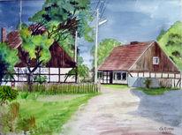 Gewitter, Sommer, Dorf, Aquarellmalerei