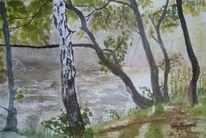 Landschaft, See, Wasser, Aquarellmalerei