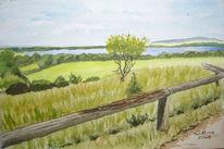 Aussicht, Sommer, Aquarellmalerei, Landschaft