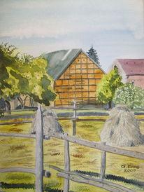 Sommer, Aquarellmalerei, Landschaft, Dorf