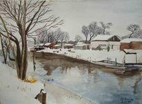 Winter, Schnee, Kanal, Wasser