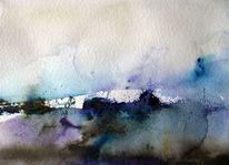 Nass, Landschaft, Aquarellmalerei, Schicht