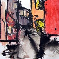Malerei, Abstrakt, Gasse, Süden