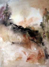 Abstrakt, Nass, Landschaft, Aquarell