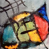 Malerei, Abstrakt, Hund, Mond