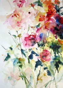 Aquarellmalerei, Nass, Blumen, Pflanzen