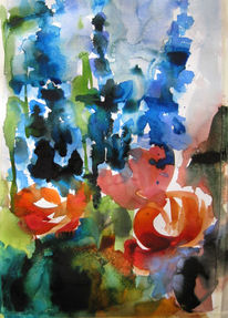 Malerei, Abstrakt, Rittersporn