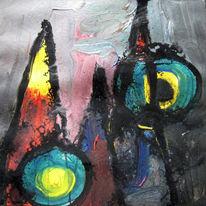 Malerei, Abstrakt, Bergen, Sonnenaufgang