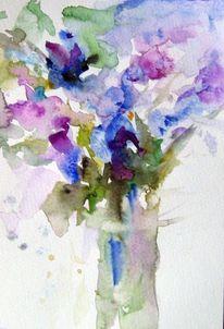 Nass, Blumen, Aquarellmalerei, Aquarell
