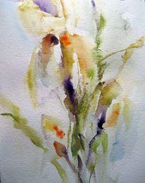 Pflanzen, Nass, Schicht, Aquarell