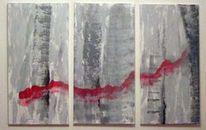 Triptychon, Lava, Abstrakt, Acrylmalerei