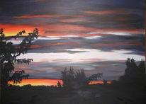 Landschaft, Abend, Himmel, Acrylmalerei