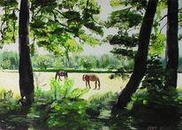 Acrylmalerei, Pferde, Landschaft, Sonne