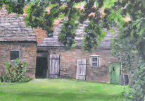 Landschaft, Bauernhof, Acrylmalerei, Malerei