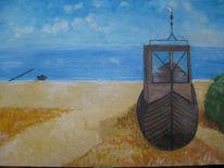 Meer, Boot, Strand, Malerei