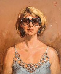 Brille, Realismus, Ölmalerei, Portrait