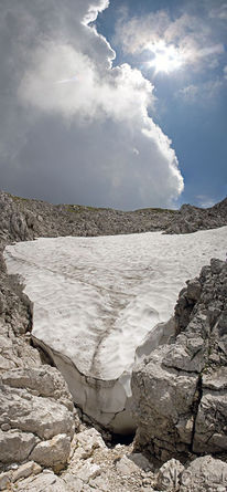 Wider kaiser, Kleinergamsjochspitz, Schnee, Vertikalpanorama