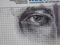 Selbstportrait, Grün, Skizze, Kugelschreiber