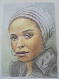 Portrait, Frau, Buntstiftzeichnung, Zeichnungen