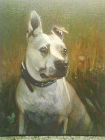 Lasurtechnik, Portrait, Acrylmalerei, Hund