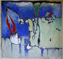 Acrylmalerei, Malerei, Baumwolle, Tusche