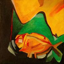 Ölmalerei, Malerei, Abstrakt, Fisch