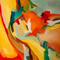 Ölmalerei, Malerei, Abstrakt, Lilie