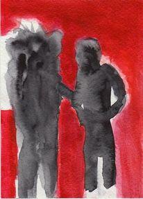 Kalt, Menschen, Rot, Malerei