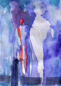 Abstrakt, Blau, Figural, Rot