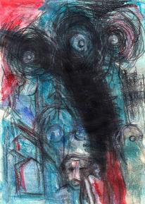 Surreal, Blau, Abstrakt, Figural