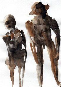 Surreal, Abstrakt, Figural, Braun