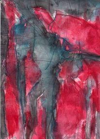 Rot, Figural, Abstrakt, Surreal
