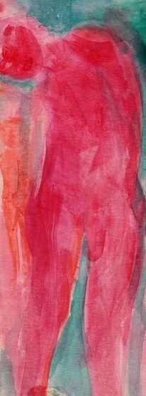 Menschen, Rot, Figural, Malerei
