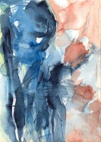 Braun, Surreal, Figural, Blau
