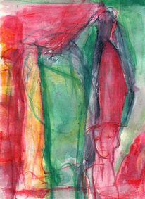 Grün, Surreal, Figural, Rot
