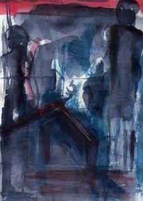 Abstrakt, Blau, Nacht, Rot