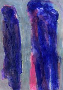 Abstrakt, Rot, Blau, Malerei