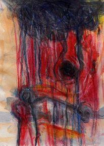 Surreal, Blau, Rot, Malerei