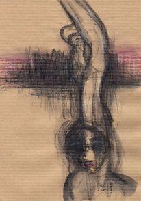 Surreal, Rot, Figural, Zeichnungen