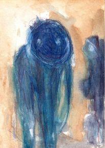 Blau, Surreal, Abstrakt, Figural