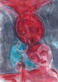 Rot, Mond, Surreal, Abstrakt