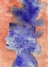 Figural, Abstrakt, Blau, Aquarell
